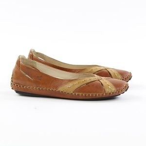 Pikolinos Tan Brown Leather Slip On Women's Flats.